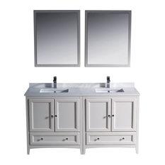 "60"" Double Sink Bathroom Vanity, Antique White, No Faucet"