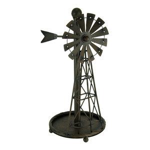 Rustic Distressed Metal Art Windmill Paper Towel Holder Kitchen Table Decor