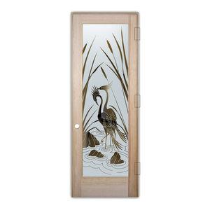 Interior Glass Door Sans Soucie Art Glass Cranes & Cattails