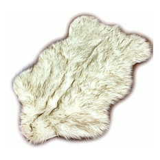 Brown Tip Arctic Wolf Faux Fur Shag Throw Rug, 5'x7'