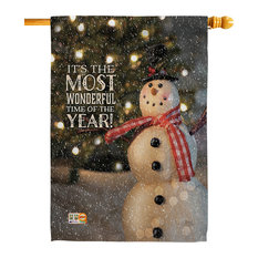 Most Wonderful Time Snowman Winter Decorative Vertical Double Sided House Flag