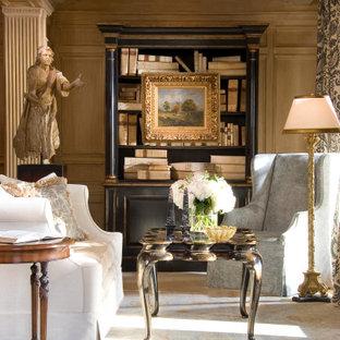 Идея дизайна: большая хозяйская спальня с коричневыми стенами, паркетным полом среднего тона, стандартным камином, фасадом камина из камня, коричневым полом, кессонным потолком и панелями на части стены