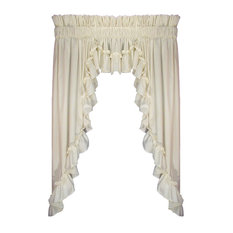 """Stephanie 3 Piece Swags and Filler Valance Window, Natural, 63, 1 1/2"""" Rod Pocke"""