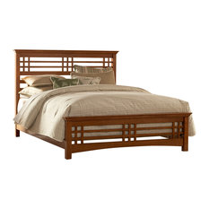 Avery Mission-Style Bed With Wood Frame, Oak, King
