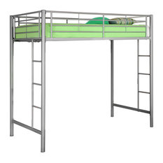 Delacora WE-BDTOL Twin Steel Loft Bed - Silver