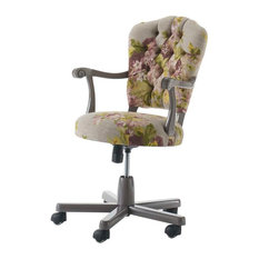 Adjustable Swivel Armchair With Floral Pattern