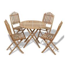 vidaXL Folding Outdoor Dining Set 5 Piece Bamboo Garden Patio Dinner Furniture
