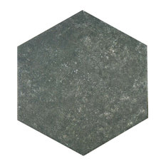 "8.63""x9.88"" Trafico Hex Porcelain Floor/Wall Tiles, Set of 25, Dark Gray"