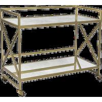 DOVETAIL COMBS Bar Cart Antique Brass Glass Shelves Iron Frame 2