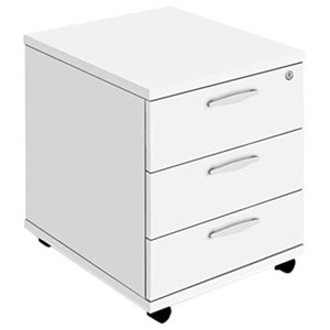 Modern Chest of Drawers, White Finished MDF With Lockable Drawer and Wheels