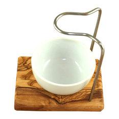 Design Olive Wood Shaving Brush Stand, 2-Piece Set