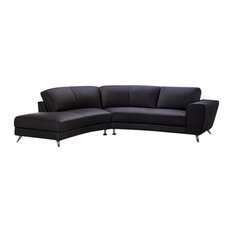 Julie Leather Match Sectional, Black