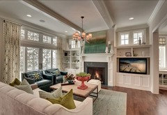 Family room & offset fireplace: layout help