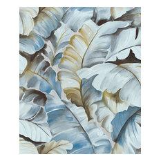Ramsay Blue Banana Leaf Wallpaper, Swatch