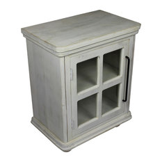 Torrance Nightstand Solid Wood With White Wash Finish and Clear Glass by Rustic Home Furnishings