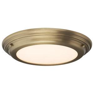 1-Light Medium Bathroom Flush, Aged Brass