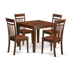5-Piece Small Kitchen Table Set With A Dining Table 4 Chairs Mahogany