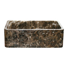 "Reversible Front 33"" Farmhouse Sink, Emperador Dark Marble"