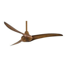 """Wave Ceiling Fan With Remote Control, Distressed Koa, 52"""""""