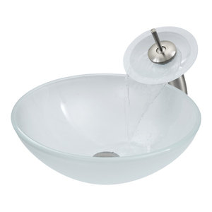 VIGO White Frost Glass Vessel Sink and Waterfall Faucet Set, Brushed Nickel