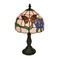 """Amora Lighting AM210TL08 Tiffany Style Butterfly Table Lamp  15"""""""