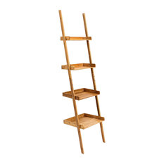 Decor Love - Modern Wall Leaning Shelving Unit, Natural Bamboo Wood With 4 Open Shelves - Display & Wall Shelves