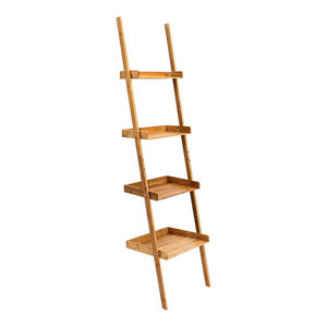 Modern Wall Leaning Shelving Unit, Natural Bamboo Wood With 4 Open Shelves