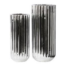 Porcelain Cylindrical Flower Vases, 2-Piece Set, Silver