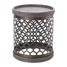 Madison Park   Quatrefoil Metal Drum Table, Gray   Side Tables And End  Tables