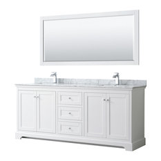 Avery 80-inch White Double Vanity Carrara Marble Top Square Sinks 70-inch Mirror