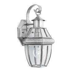 Heritage 1-Light Outdoor Wall Lantern, Brushed Nickel, Clear Beveled Glass