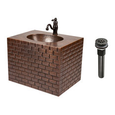 """24"""" Hand Hammered Copper Wall Mount Vanity w/ Tuscan Design & Faucet /Combo"""