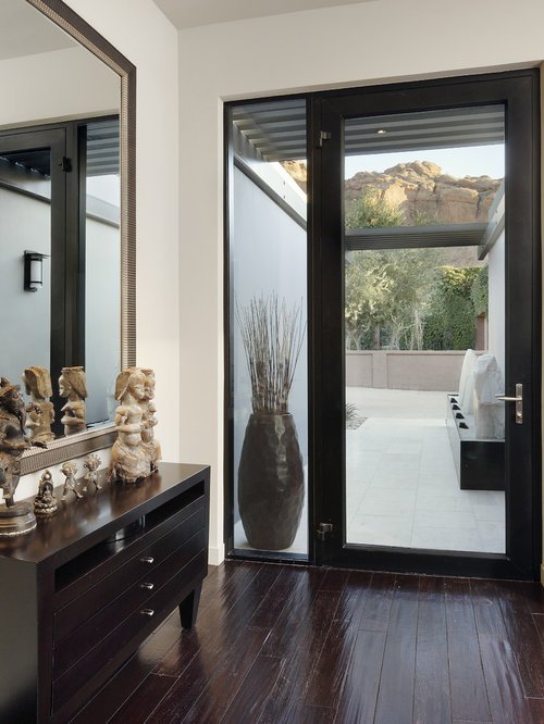 inspiration for a contemporary dark wood floor single front door remodel in phoenix