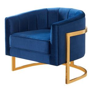 Carter Velvet Accent Chair, Navy