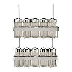 Metro Chrome 2-Tier Spice Rack for Utensil Rails, 10 Jars