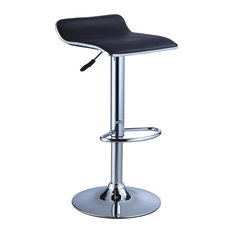 Powell Furniture Powell Black Faux Leather Chrome Thin Seat Adjustable Height Bar Stools