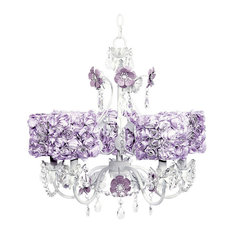 5-Arm White Flower Garden Chandelier With Rose Shades