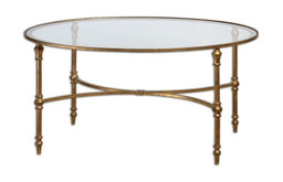 """Aden"" Oval Gold Iron Coffee Table"