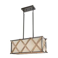 LNC 3-Light Wood Kitchen Island Lighting Rectangular Chandelier