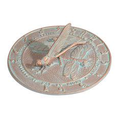 """12"""" Diameter Dragonfly Large Sundial, Copper Verdi"""