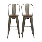"""30"""" Metal Antique Bronze Rustic BarStool Chair High Back Wood Seat, Set of 4"""