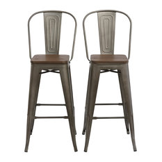 Tradd Metal And Wood Bistro Bar Stools Set Of 4 Distressed 30-inch