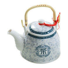 Ceramic Cold Kettle Boiled Teapot With Wooden Handle, 35 Oz, Blue White Tea Word