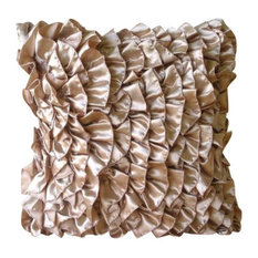 Pink Vintage Style Ruffles 30x30 Satin Cushions Cover, Vintage Peach