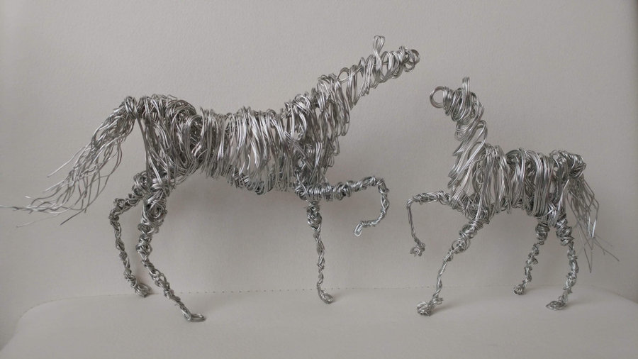 Two Horses Wire Sculptures