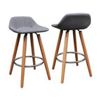 "26"" Upholstered Counter Stools, Set Of 2, Wood and Gray"