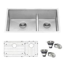 """Ruvati 33"""" Low-Divide Undermount Stainless Steel Kitchen Sink, RVH7419"""