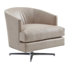 Graves Leather Swivel Chair Polished Chrome Base