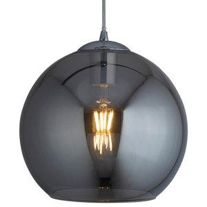 Balls Single Round Pendant, Chrome and Smoked Glass