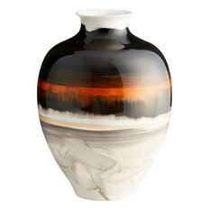 Indian Paint Brush Vase in Black And White With Gold